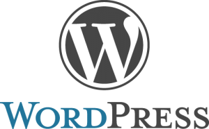 The WordPress logo, a W in a circle over the text WordPress using small caps