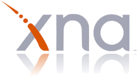 The Microsoft XNA logo, just the letter xna with the downward slash of the X colored orange
