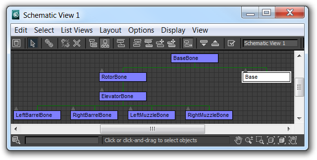 Screenshot of 3ds Max 2011 hierarchy view showing how I linked the bones