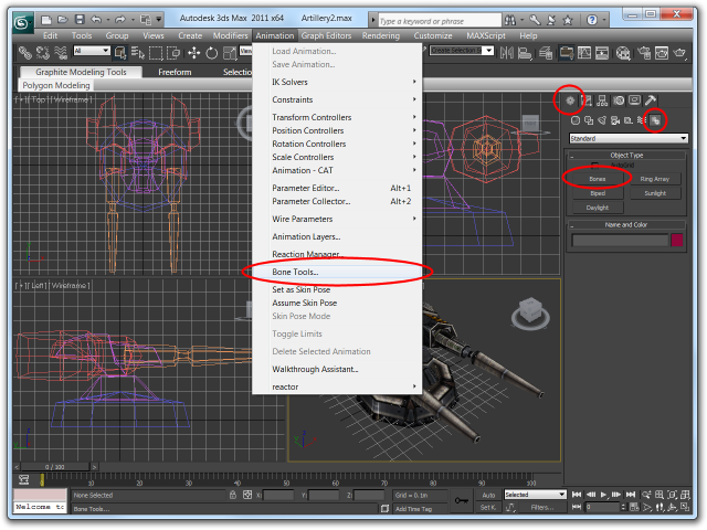 Screenshot of 3ds Max 2011 highlighting the Bone Tools menu entry and Create Bone Primitive button