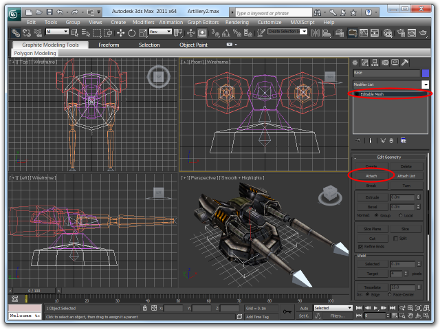 Screenshot of the Editable Mesh modifier toolbox with the Attach button highlighted