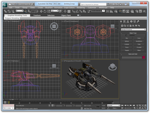 Screenshot of 3ds Max 2011 with a turret model consisting of multiple meshes