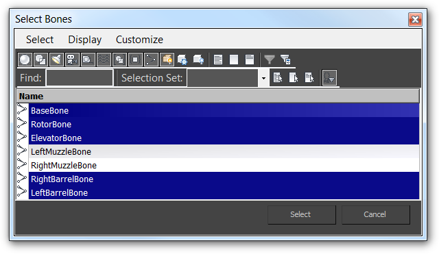 Screenshot of the Add Bones dialog for the Skin modifier with some bones selected