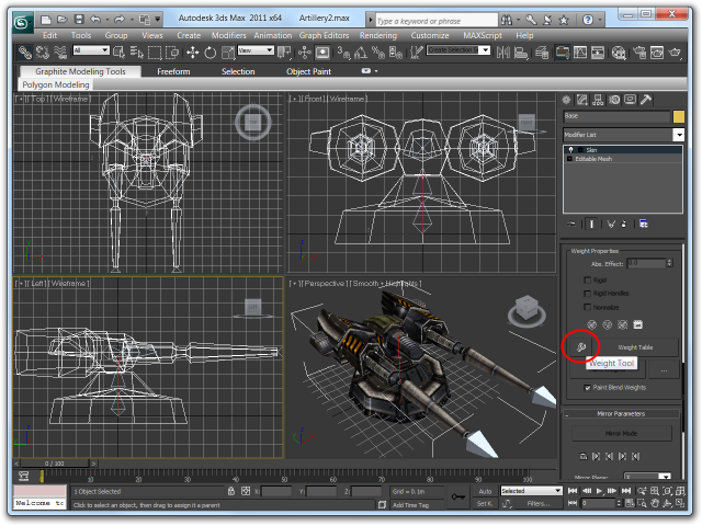Screenshot of the Weight Tools button in the Skin modifier's toolbox