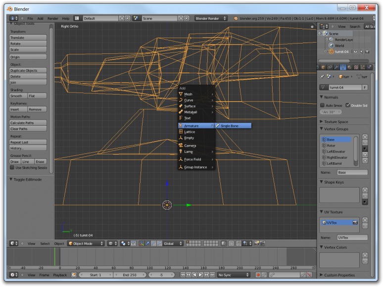 Screenshot of Blender showing how to add the root bone to the model