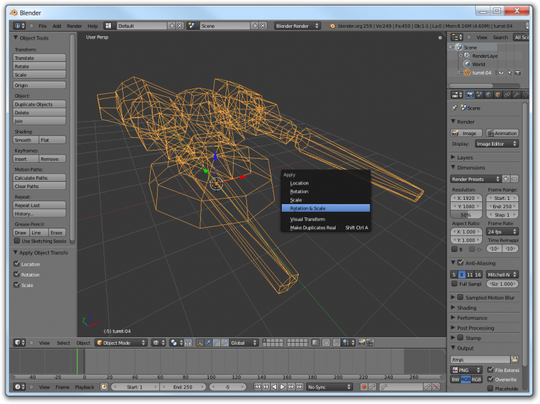 Screenshot of Blender showing how to bake transforms into the mesh