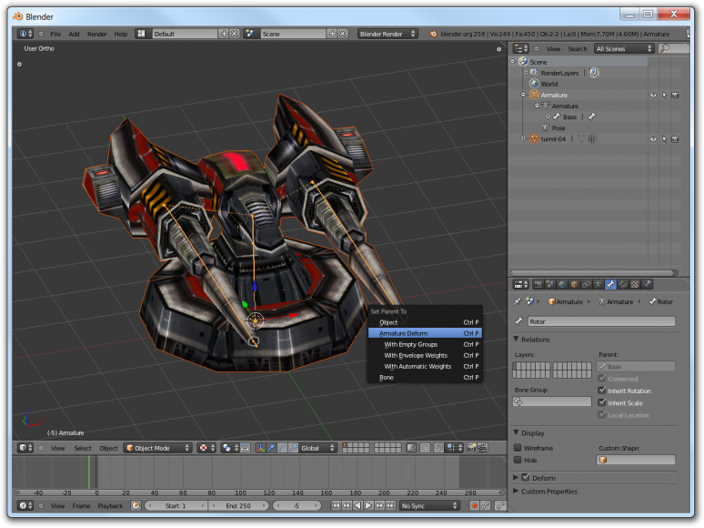 Screenshot of Blender showing how to parent the mesh to the skeleton