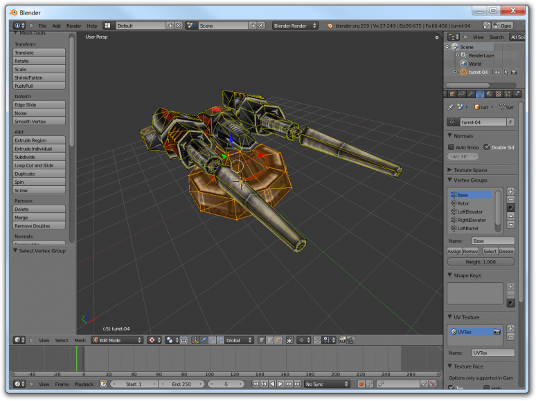 Screenshot of Blender showing how to create Vertex Groups