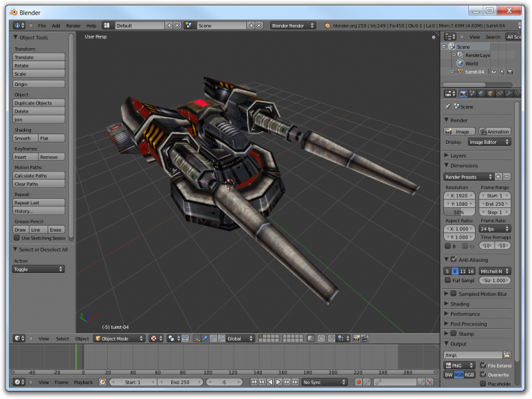 Screenshot of Blender with the imported turret model