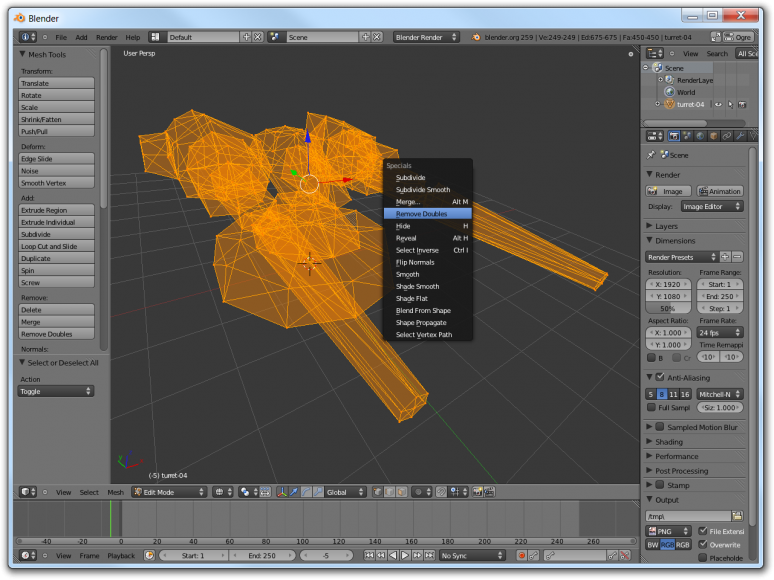 Screenshot of Blender showing how to remove duplicated vertices