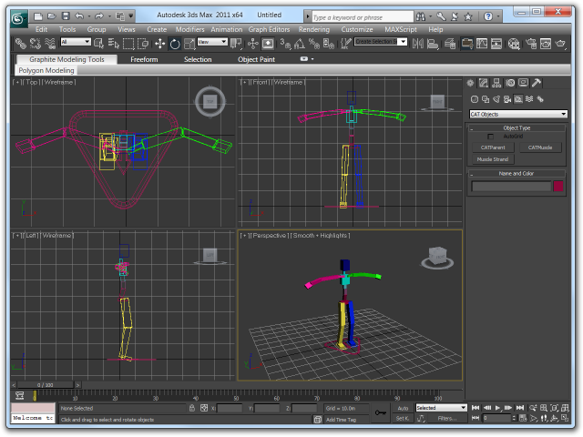 Screenshot of bones for a human standing upright with arms spread in 3ds Max