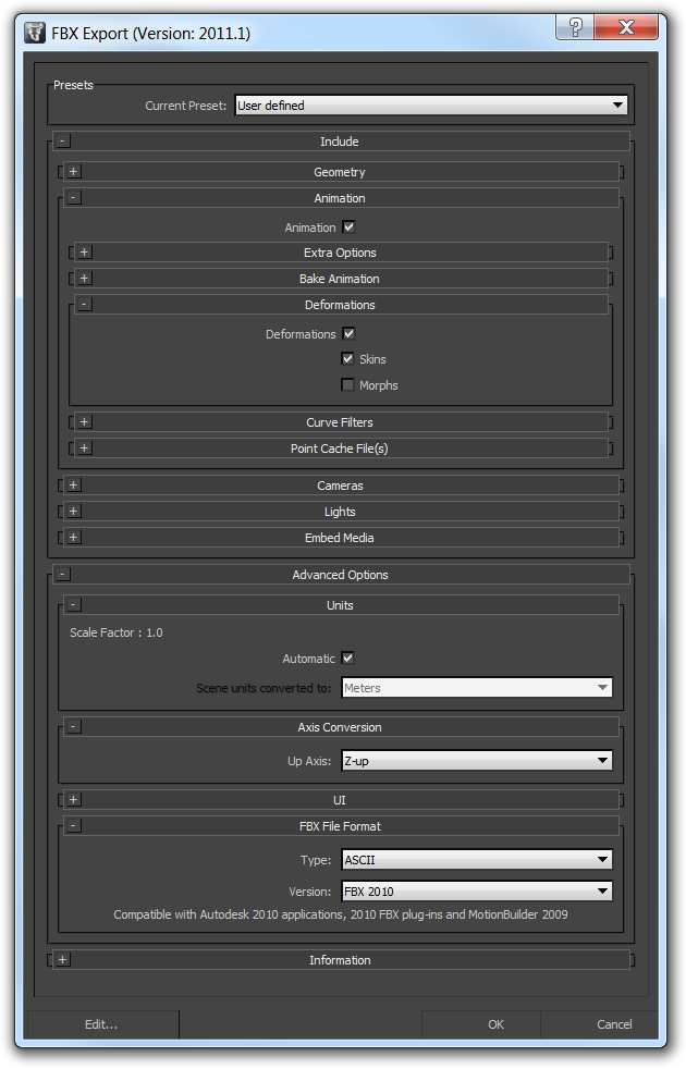 Screenshot of the FBX export dialog in 3ds Max with skins enabled the Z selected as the up-axis