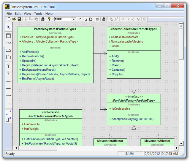 UML class diagram being edited in the UML Sculptor application
